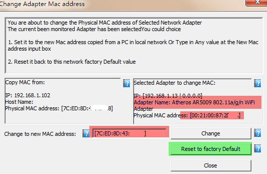 Use netCut to Reset MAC address back to factory default